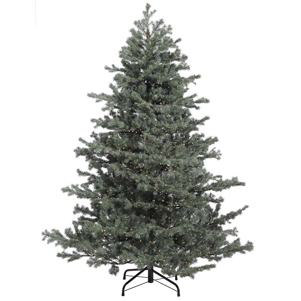 9' Green/Grey Mountain Fir Tree: Clear LED Rice Lights