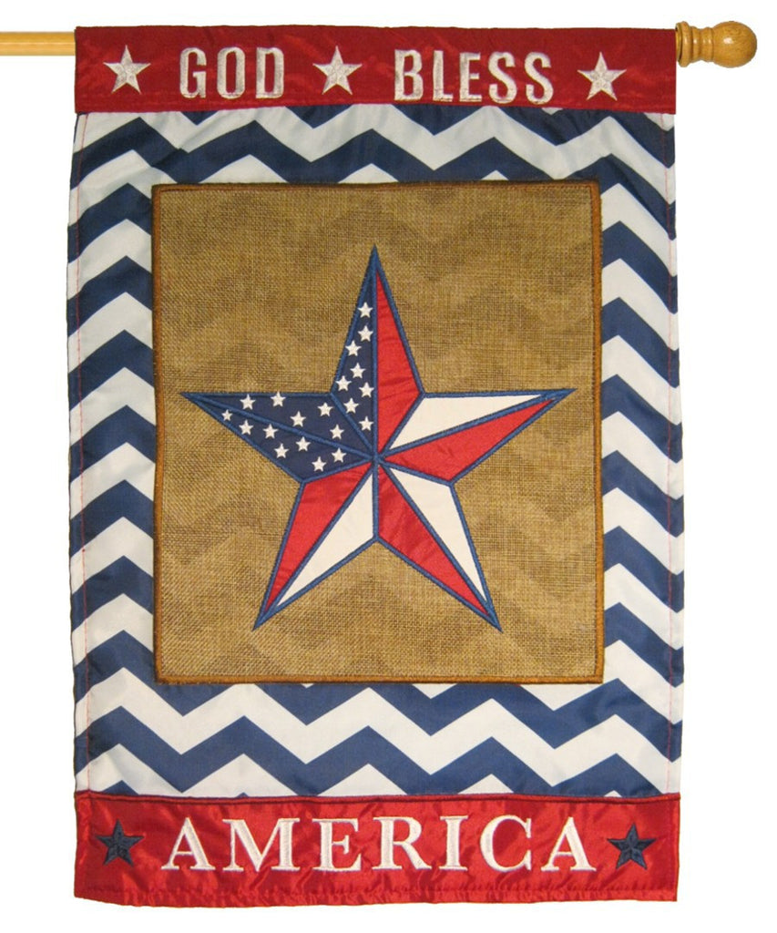 Burlap God Bless America Star Double Applique House Flag