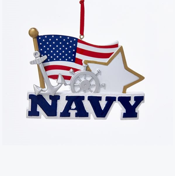 Navy With American Flag Ornament For Personalization