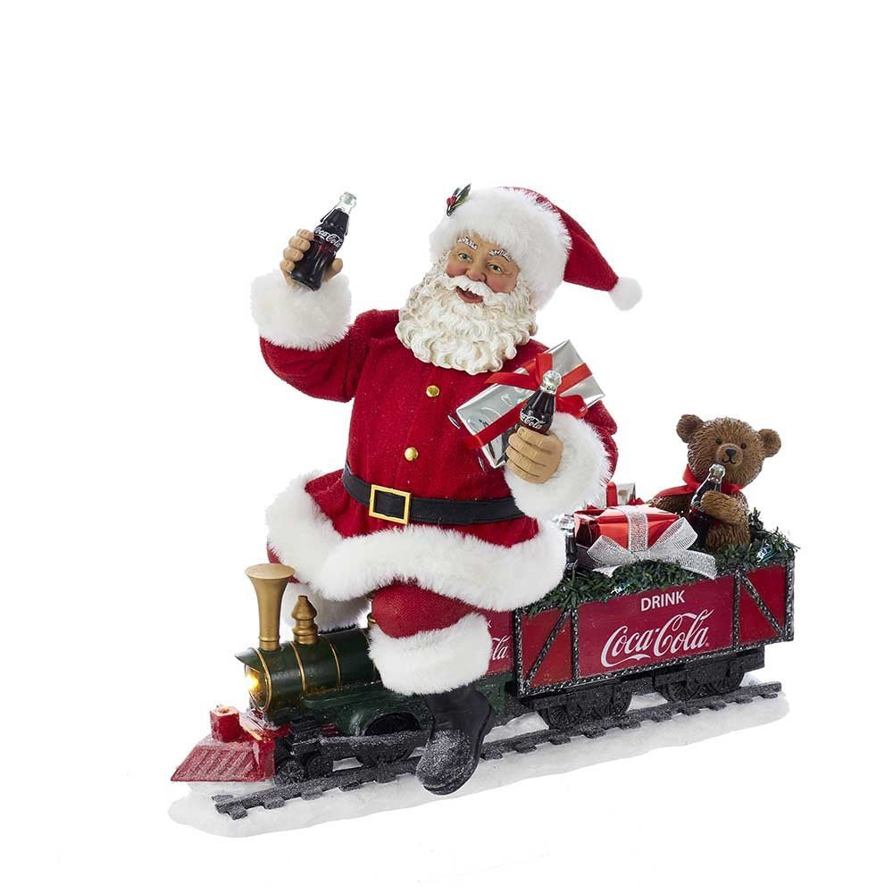 Christmas Train.Coca Cola Battery Operated Santa Train With Led Garland Red