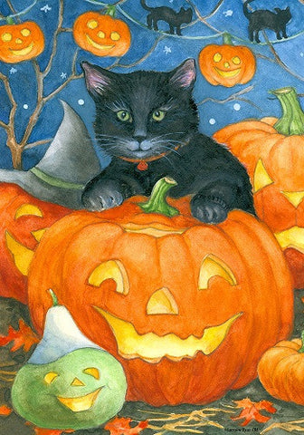 Black Cat Pumpkin Flag