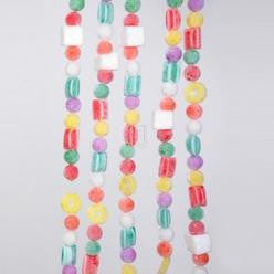 PLASTIC WHITE FLOCKED CANDY GARLAND, H2624
