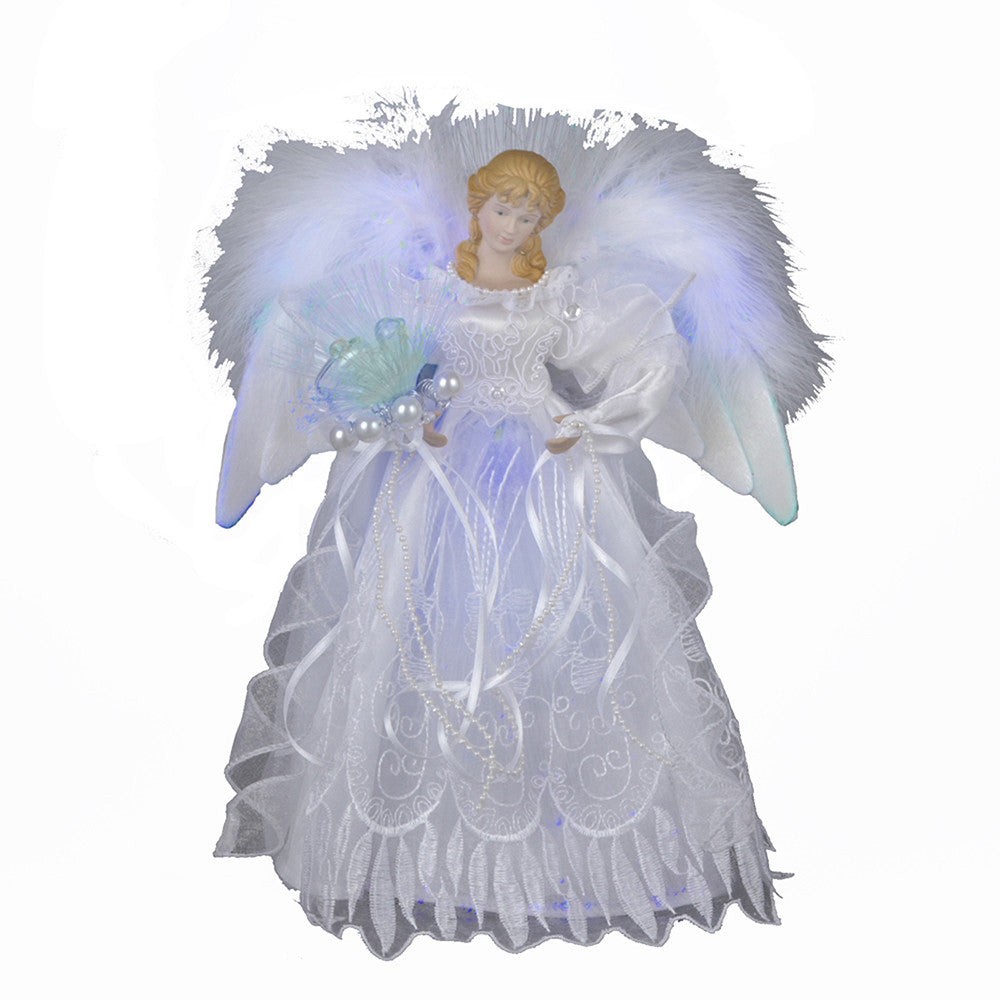 ANGEL TREE TOPPER, WHITE AND SILVER FIBER OPTIC LED