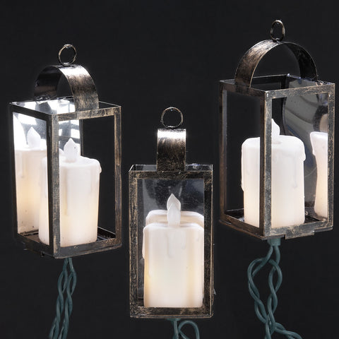 ANTIQUE COLOR LANTERN LIGHT SET WITH IVORY CANDLES, 10/L, UL1876
