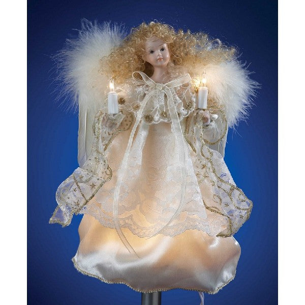 Lighted IVORY AND GOLD ANGEL TREE TOPPER