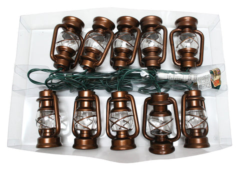Brass Lantern Light Set 10-Light