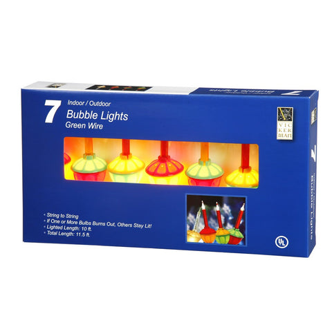 "Bubble 7ct , C7 String 20"" apart Light Set - Multicolored Lights"