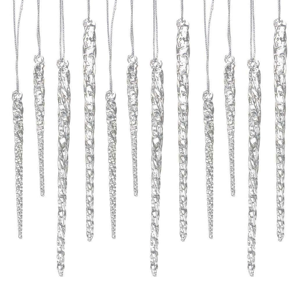 Glass Icicle Ornaments Clear Twist Set of 24