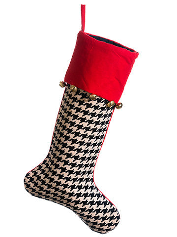 Houndstooth Stocking with Bells