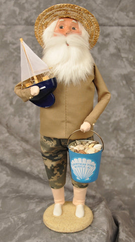 Beach Santa with Sailboat Christmas Town Exclusive