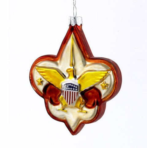 Boy Scout logo glass ornament, BS0001