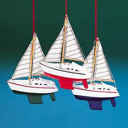 WOODEN YACHT WITH STRIPED SAILS ORNAMENT - 3 ASSORTED