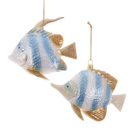 Angel Fish Glass Ornaments Pair, C1980, KSA