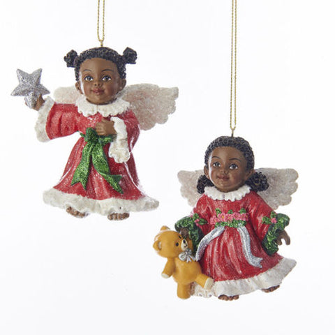 African American Angels Little Angel Set Ornaments, Set of 2, C7630