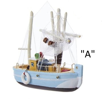 Wooden Fishing Boat ornaments Light Blue, D2721