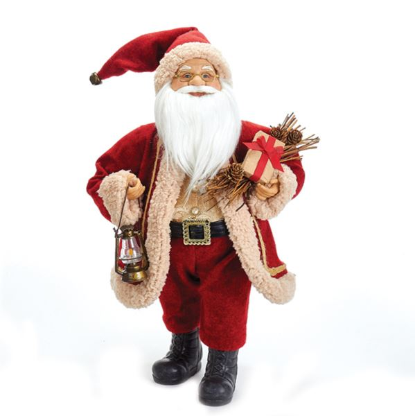 Fabriché Red and Beige Santa With Lantern, D2750