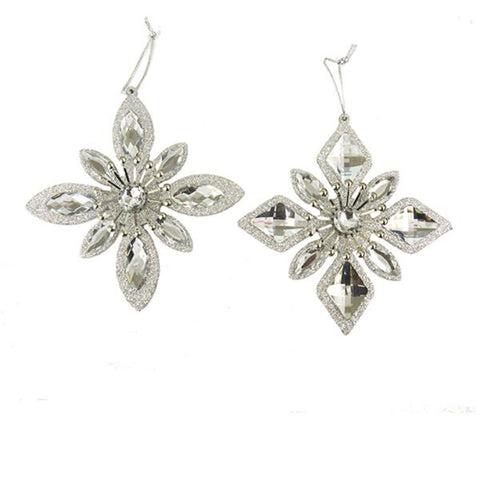 Silver Jewel Snowflake Ornaments, 2 Assorted, D2772