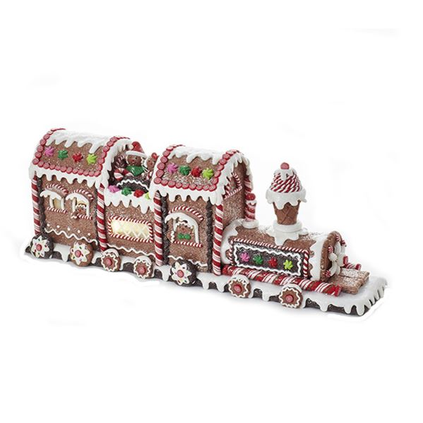 Gingerbread Train, Battery-Operated LED Lighted, D2868