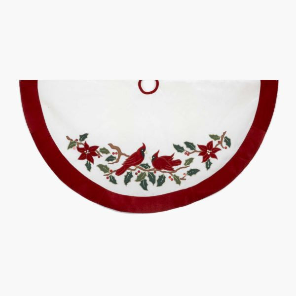 WHITE VELVET WITH CARDINALS, METALLIC EMBROIDERY AND RED BORDER TREE SKIRT