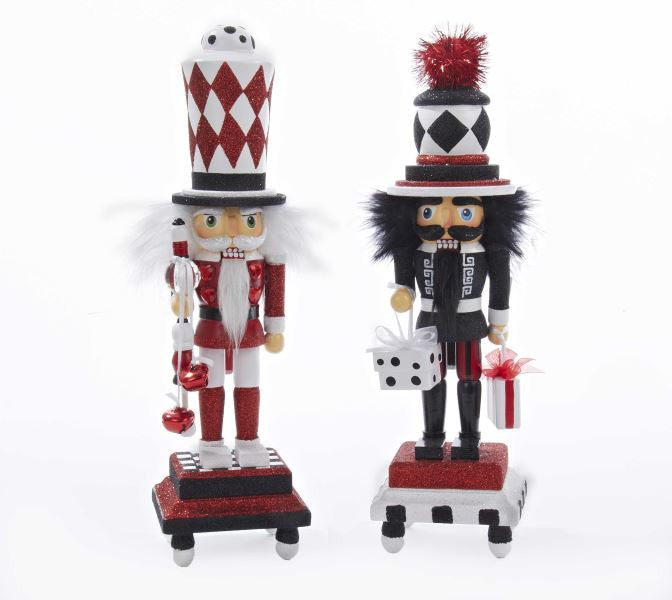 HOLLYWOOD WHITE AND RED NUTCRACKER WITH GLITTERED BASE