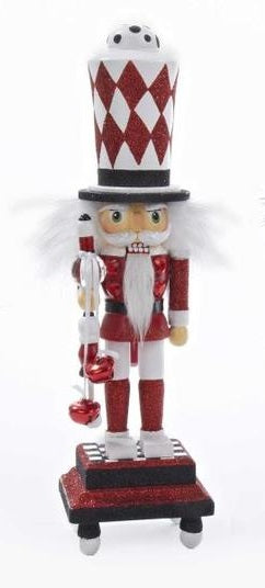 HOLLYWOOD WHITE AND RED NUTCRACKER WITH GLITTERED BASE, HA0205