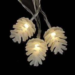 WHITE PINECONE NOVELTY LIGHT SET BATTERY OPERATED 10/L LED