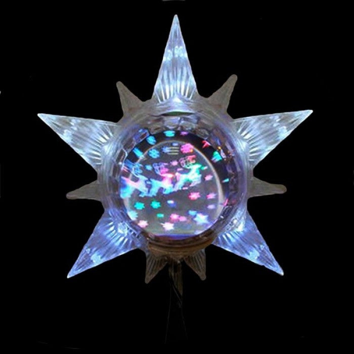 STAR TREE TOPPER WITH REVOLVING GLOBE REFLECTING