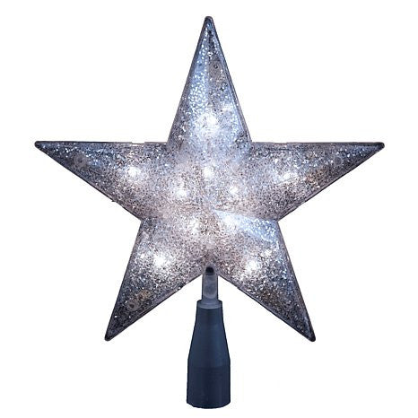 SILVER GLITTER STAR TREE TOPPER 10/L 5-POINT