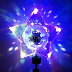 ROTATING MIRROR BALL STAR TREE TOPPER 5/L BATTERY OPERATED