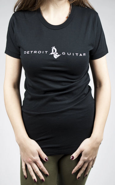 Detroit Guitar Classic Logo Ladies T-Shirt Black