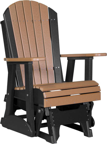 Luxcraft Adirondack  Glider Chair - Chestnut Brown on Black