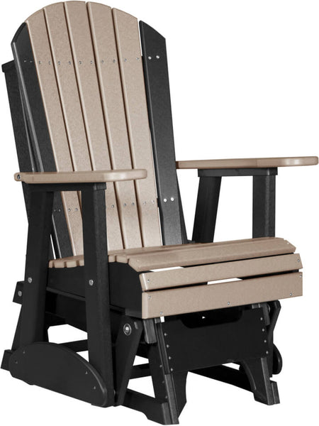 Luxcraft Adirondack  Glider Chair - Weatherwood on Black