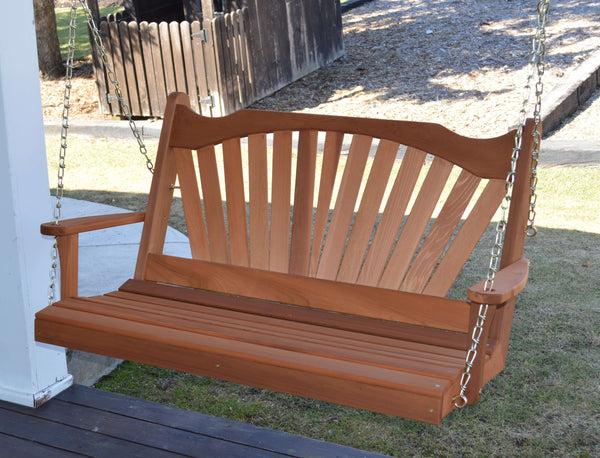 A&L Furniture - Fanback Wooden Porch Swing - Red Cedar - 4ft, 5ft, 6ft