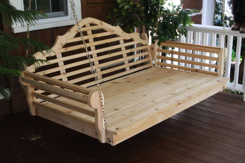 A&L Furniture Marlboro Cedar Swing Bed for Porch - Unfinished