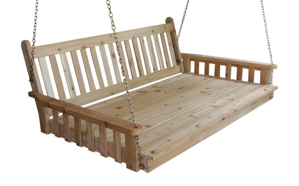 "Traditional English Twin Swing Bed 75"" - Red Cedar - A&L Furniture"