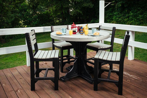 Luxcraft Poly 5 Piece Dining Set - Round Table & Island side chairs