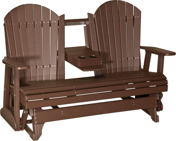 5ft Luxcraft Poly Adirondack Glider (with Flipdown Cup Holders)