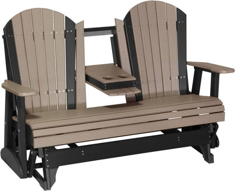 5 Foot Luxcraft Amish Poly Adirondack - Double Glider Bench (with Flipdown Table & Cup Holders)