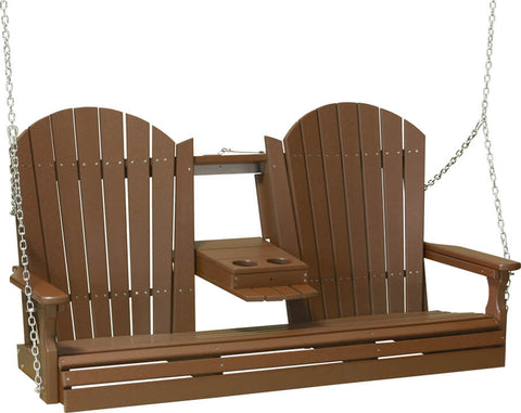 5ft Luxcraft Adirondack Poly Porch Swing (Recycled Plastic) - with flipdown Cup Holders