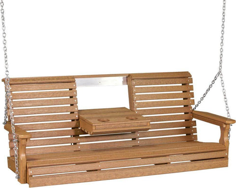 Luxcraft 5ft Rollback Poly Porch Swing (with Flipdown Center Console and Cup Holders)