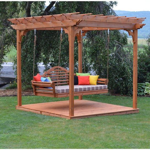 8x8 Cedar Pergola Swing Bed Amish Made