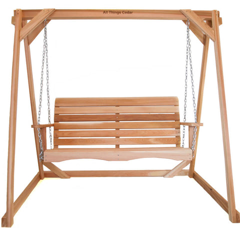 4ft WOOD SWING & A-FRAME STAND SET - RED CEDAR