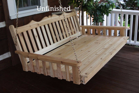 "Amish A&L Furniture- Twin Swing Bed 75"" - Royal English- Pine"