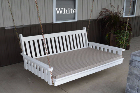 Amish Farmhouse Traditional English Swing Bed - White - Twin Size