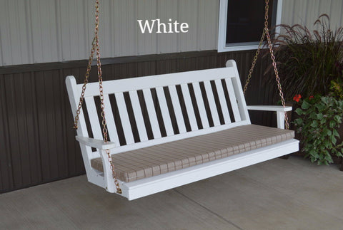 Amish A&L Furniture - Traditional English Porch Swing - Pine - 4ft, 5ft, 6ft