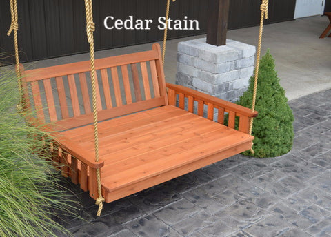 Amish A&L Furniture Traditonal Porch Swing Bed - Cedar - Cedar Stain
