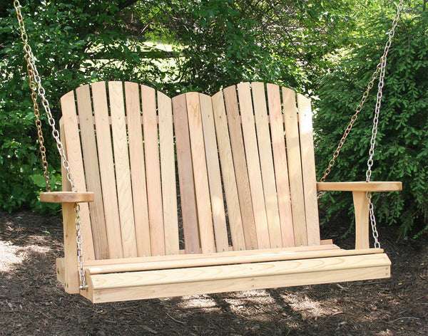 4ft Adirondack Porch Swing - Red cedar - Creekvine Designs