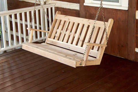 Amish A&L Furniture - Traditional Porch Swing - Cedar - 4ft, 5ft, 6ft