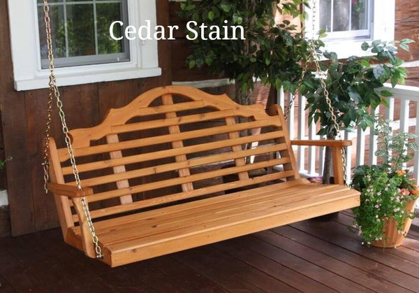 Amish A&L Marlboro Porch Swing - Cedar Stain