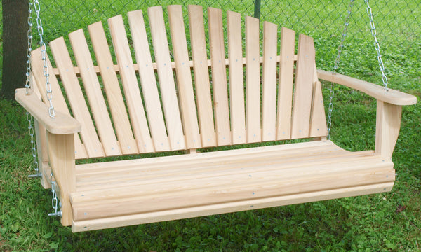 Fanback 4ft Porch Swing - Cypress wood - JR Ables